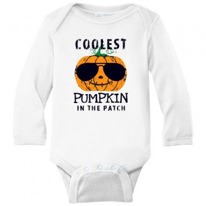 Coolest Pumpkin In The Patch Funny Halloween Long Sleeve Baby Bodysuit Designed By Pinkanzee