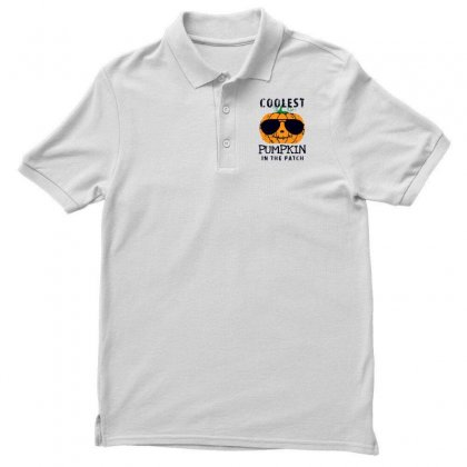 Coolest Pumpkin In The Patch Funny Halloween Men's Polo Shirt Designed By Pinkanzee
