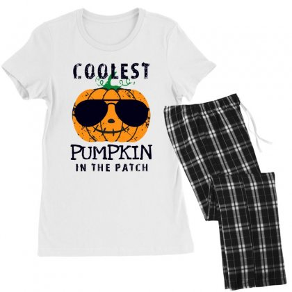 Coolest Pumpkin In The Patch Funny Halloween Women's Pajamas Set Designed By Pinkanzee