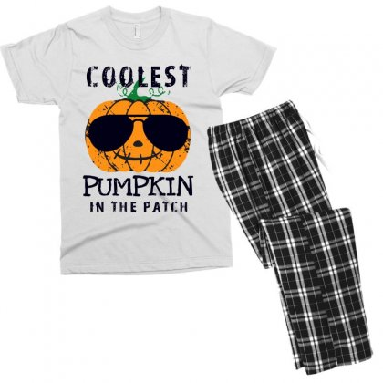 Coolest Pumpkin In The Patch Funny Halloween Men's T-shirt Pajama Set Designed By Pinkanzee
