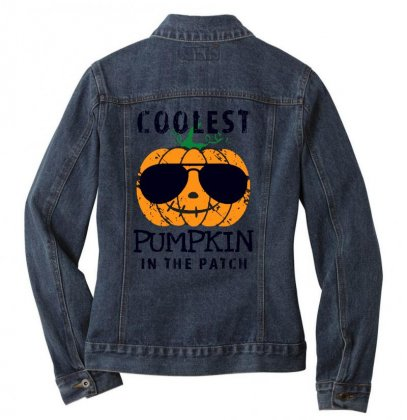 Coolest Pumpkin In The Patch Funny Halloween Ladies Denim Jacket Designed By Pinkanzee