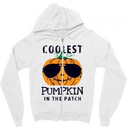 Coolest Pumpkin In The Patch Funny Halloween Zipper Hoodie Designed By Pinkanzee