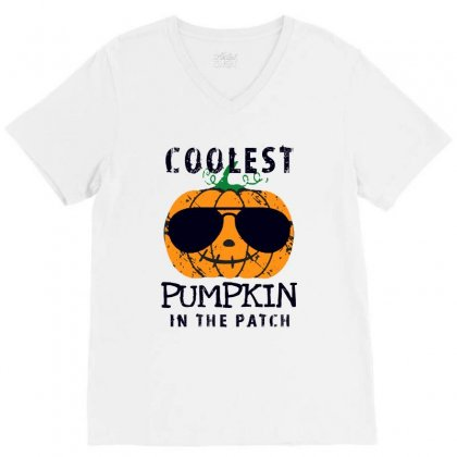 Coolest Pumpkin In The Patch Funny Halloween V-neck Tee Designed By Pinkanzee