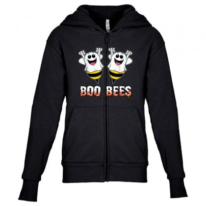 Boo Bees Couples Halloween Costume Youth Zipper Hoodie Designed By Pinkanzee