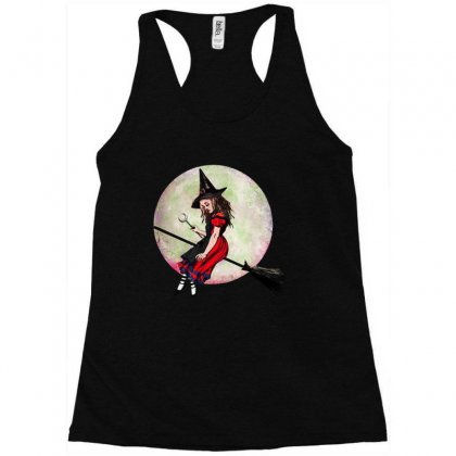 Alice In Wonderland Witch Flying On Broom Halloween Costume Racerback Tank Designed By Pinkanzee