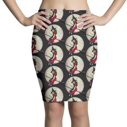Alice In Wonderland Witch Flying On Broom Halloween Costume Pencil Skirts Designed By Pinkanzee