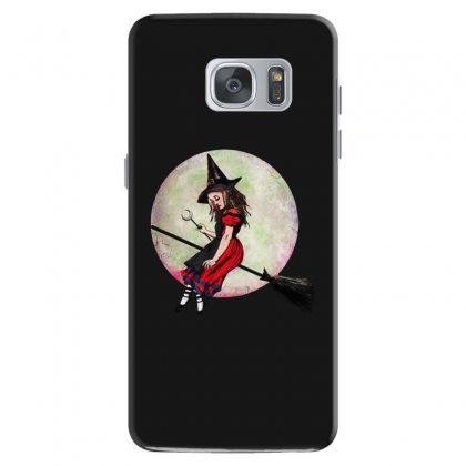 Alice In Wonderland Witch Flying On Broom Halloween Costume Samsung Galaxy S7 Case Designed By Pinkanzee