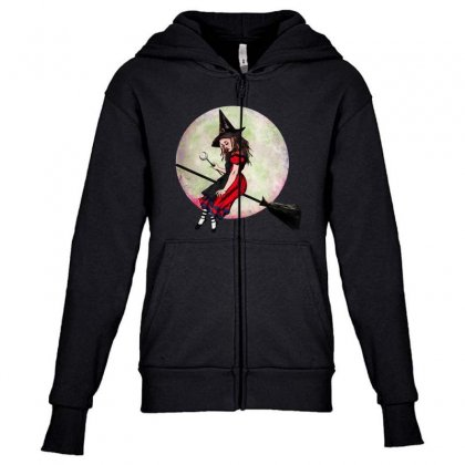 Alice In Wonderland Witch Flying On Broom Halloween Costume Youth Zipper Hoodie Designed By Pinkanzee