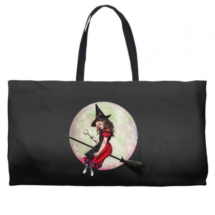 Alice In Wonderland Witch Flying On Broom Halloween Costume Weekender Totes Designed By Pinkanzee