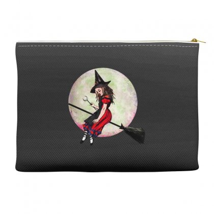 Alice In Wonderland Witch Flying On Broom Halloween Costume Accessory Pouches Designed By Pinkanzee