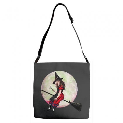 Alice In Wonderland Witch Flying On Broom Halloween Costume Adjustable Strap Totes Designed By Pinkanzee