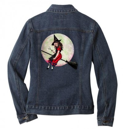 Alice In Wonderland Witch Flying On Broom Halloween Costume Ladies Denim Jacket Designed By Pinkanzee