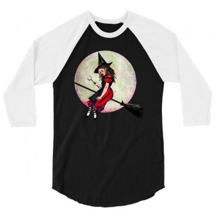 Alice In Wonderland Witch Flying On Broom Halloween Costume 3/4 Sleeve Shirt Designed By Pinkanzee