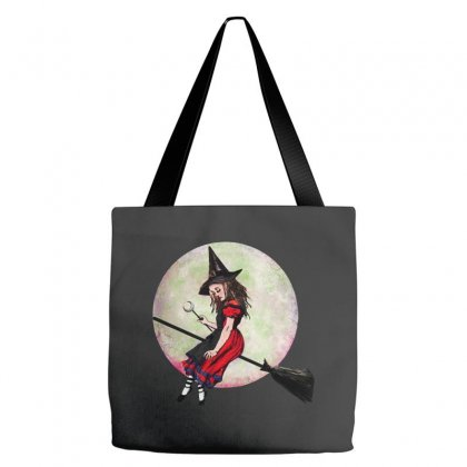 Alice In Wonderland Witch Flying On Broom Halloween Costume Tote Bags Designed By Pinkanzee