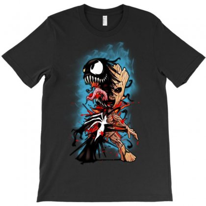 Funny Baby Groot Venom Halloween T-shirt Designed By Ainazee Tees
