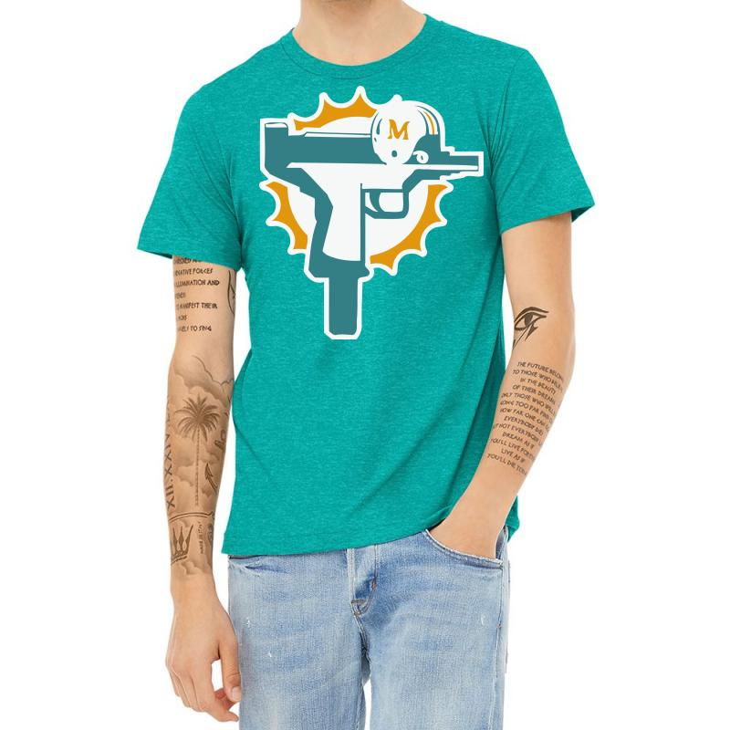 Miami Dolphins Uzi Gun T Shirt Football Jersey Funny Ryan Tannehill New Rare! Heather T-shirt | Artistshot