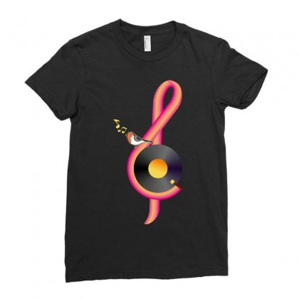 Clef Musical Ladies Fitted T-shirt Designed By Wizarts