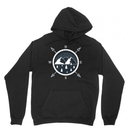 Mountain Compass Unisex Hoodie Designed By Wizarts