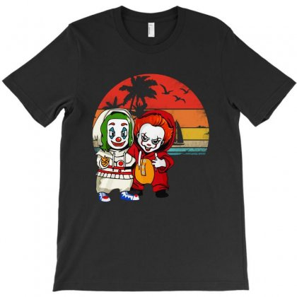 Funny Halloween Baby Joker And Pennywise Horror Movies Characters T-shirt Designed By Blqs Apparel