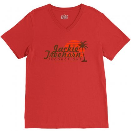 Jackie Treehorn Productions V-neck Tee Designed By Fashionartis69
