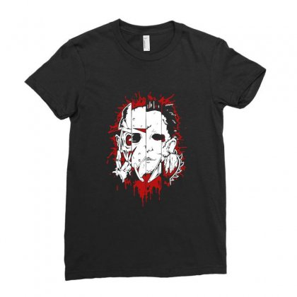 Friend Horror Face Mashup Horror Movies Halloween Ladies Fitted T-shirt Designed By Platinumshop