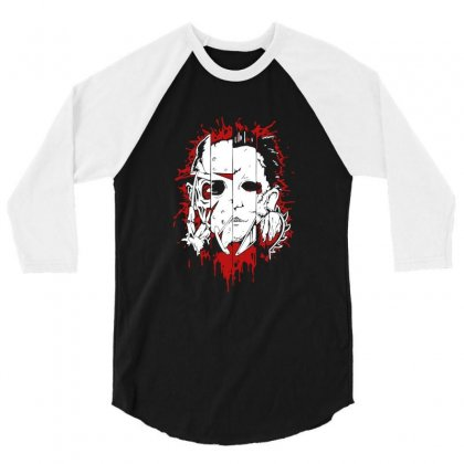 Friend Horror Face Mashup Horror Movies Halloween 3/4 Sleeve Shirt Designed By Platinumshop