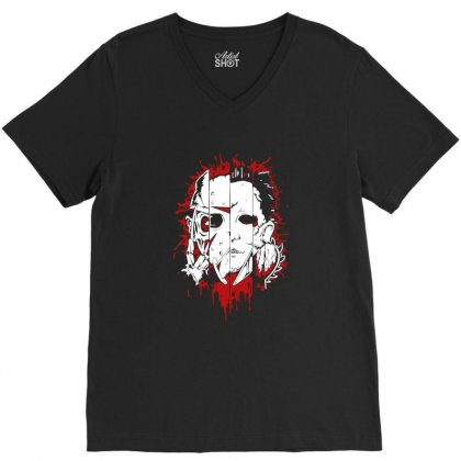 Friend Horror Face Mashup Horror Movies Halloween V-neck Tee Designed By Platinumshop