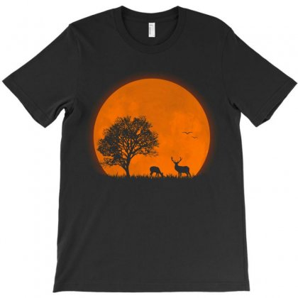 The Deer The Red Sun Halloween T-shirt Designed By Amber Petty