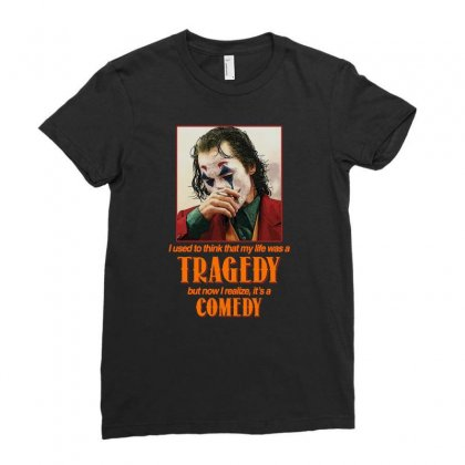 Tragedy Comedy Joker Ladies Fitted T-shirt Designed By Sengul