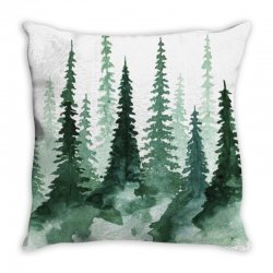 tree watercolor painting pine forest Throw Pillow | Artistshot