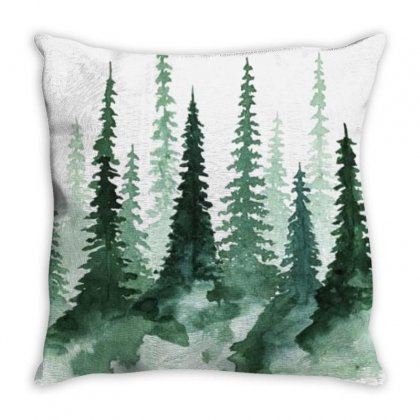 Tree Watercolor Painting Pine Forest Throw Pillow Designed By Salmanaz