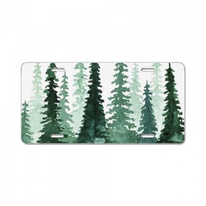 Tree Watercolor Painting Pine Forest License Plate Designed By Salmanaz