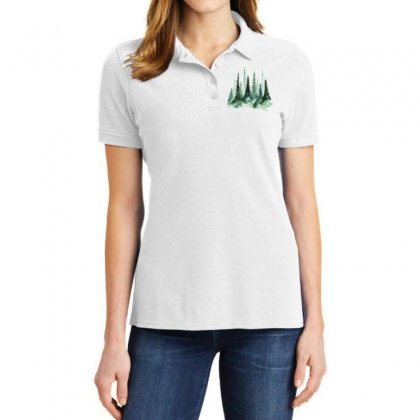 Tree Watercolor Painting Pine Forest Ladies Polo Shirt Designed By Salmanaz