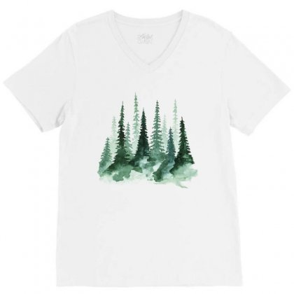 Tree Watercolor Painting Pine Forest V-neck Tee Designed By Salmanaz