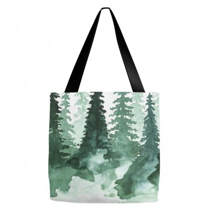 Tree Watercolor Painting Pine Forest Tote Bags Designed By Salmanaz