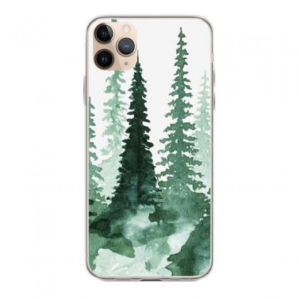 Tree Watercolor Painting Pine Forest Iphone 11 Pro Max Case Designed By Salmanaz