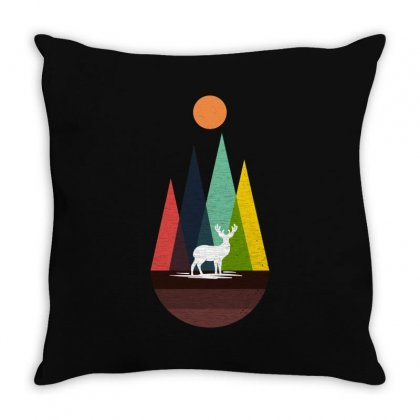 Deer In The Fall Throw Pillow Designed By Hasret