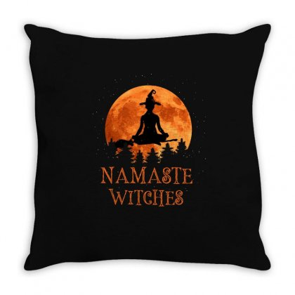 Namaste Witches Throw Pillow Designed By Sengul