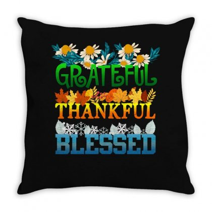 Grateful Thankful Blessed Throw Pillow Designed By Sengul