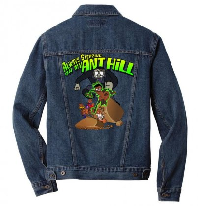 Ant Bully Men Denim Jacket Designed By Pinkanzee