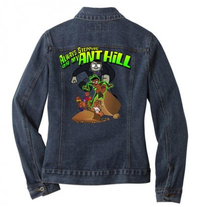 Ant Bully Ladies Denim Jacket Designed By Pinkanzee