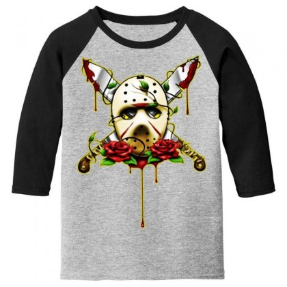 Halloween Horror Youth 3/4 Sleeve Designed By Pinkanzee