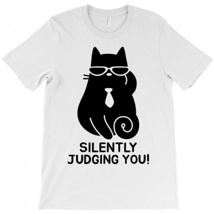 Funny Cat   Silently Judging You   Black T-shirt Designed By Meza Design