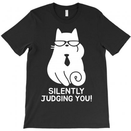 Funny Cat   Silently Judging You   White T-shirt Designed By Meza Design