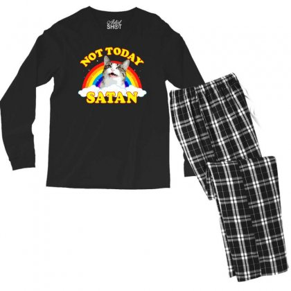 Not Today Satan! - Roger The Cat, Death Metal Rainbow Smiles Men's Long Sleeve Pajama Set Designed By Omer Acar