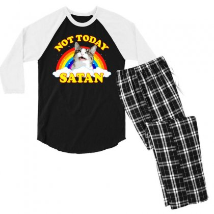 Not Today Satan! - Roger The Cat, Death Metal Rainbow Smiles Men's 3/4 Sleeve Pajama Set Designed By Omer Acar