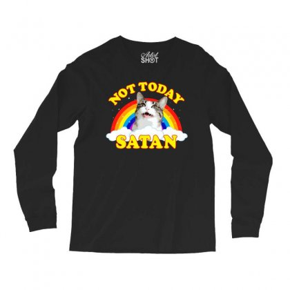 Not Today Satan! - Roger The Cat, Death Metal Rainbow Smiles Long Sleeve Shirts Designed By Omer Acar