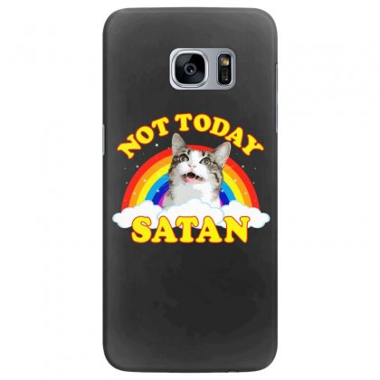 Not Today Satan! - Roger The Cat, Death Metal Rainbow Smiles Samsung Galaxy S7 Edge Case Designed By Omer Acar
