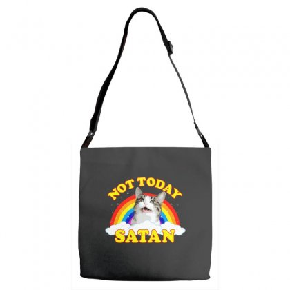 Not Today Satan! - Roger The Cat, Death Metal Rainbow Smiles Adjustable Strap Totes Designed By Omer Acar