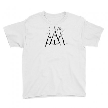 Mountaons Camp Bw Youth Tee Designed By Andr1